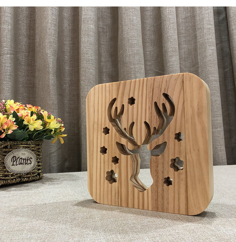 Christmas Deer LED Light Desk Lamp Creative Hollow Wood Carving Animal Table Lamp For Kids Bedroom Home Living Room Decoration (2)