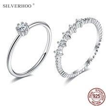 SILVERHOO 925 Sterling Silber Paar Ring Verziert Mit 5A Zirkonia CZ Liebhaber Ringe Hochzeitstag Geschenk Schmuck