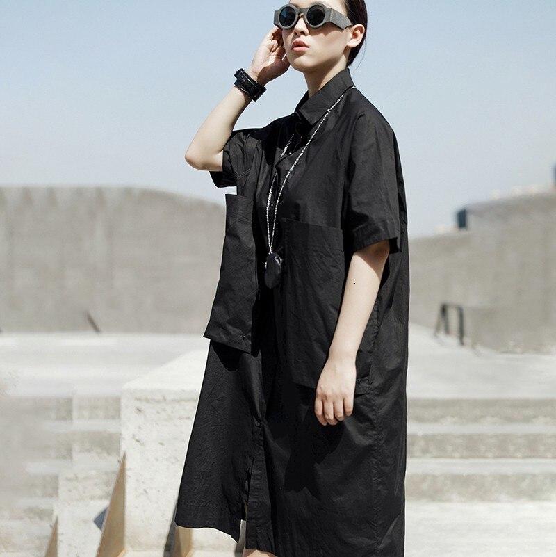New Fashion Style Black Pocket Split Joint Loose Big Size Shirt Dress Fashion Nova Clothing