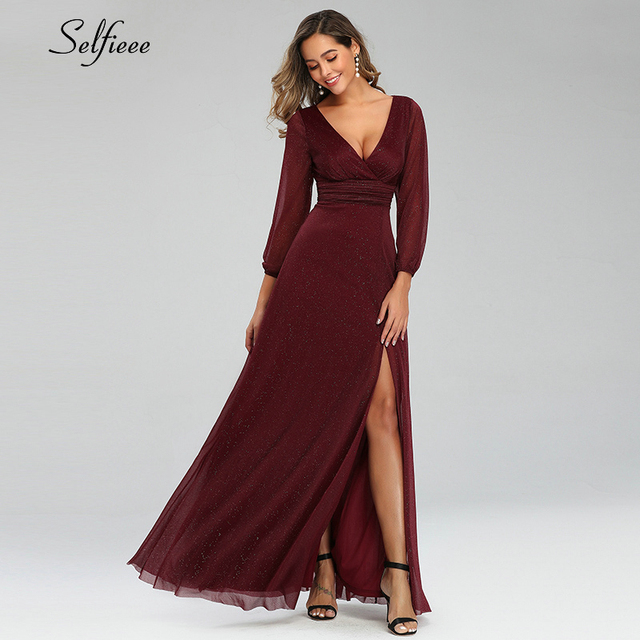 Sexy Maxi Dress A-Line V-Neck Long Sleeve Side Split Ruched Sparkle Formal Party Dress Women Fashion Dress Long Ropa Mujer 2020 4