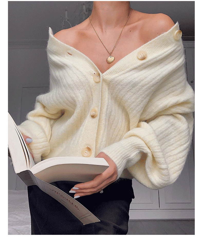 Knitted Cardigan Sweater Solid Color Women Single Breasted Knitted Sweater Knitwear Jacket