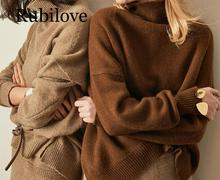 Rubilove Autumn and Winter New Cashmere Sweater Womens High-Necked Pullover Loose Thick Short Paragraph Knit Shirt