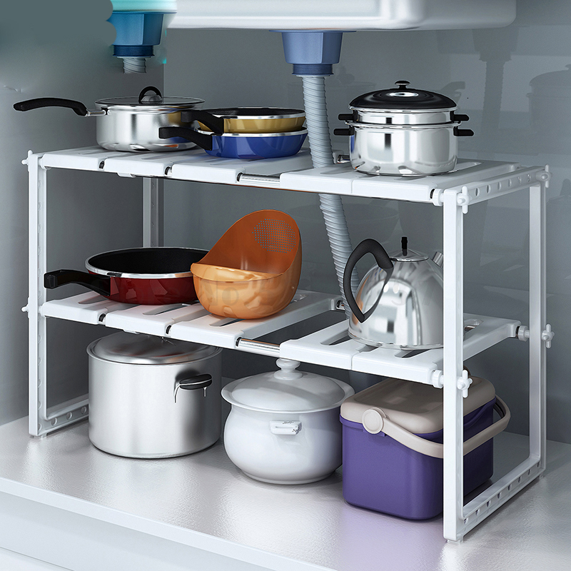 Floor Stainless Steel Retractable Sink Receptacle Kitchen Cabinet Storage Shelf dish rack cocina organizador