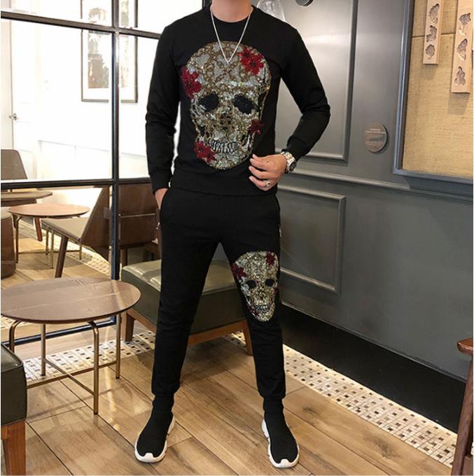 Брендовые мужские комплекты, Модный осенне зимний спортивный костюм, толстовка + спортивные штаны, спортивный костюм, Мужская одежда, компл... - 2