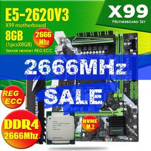 X99 DDR4 2 DIMM D4 Motherboard Set with Xeon E5 2620 V3 LGA2011-3 CPU 1pcs * 8GB = 8GB PC4 RAM 2666MHz DDR4 Memory RAM REG ECC