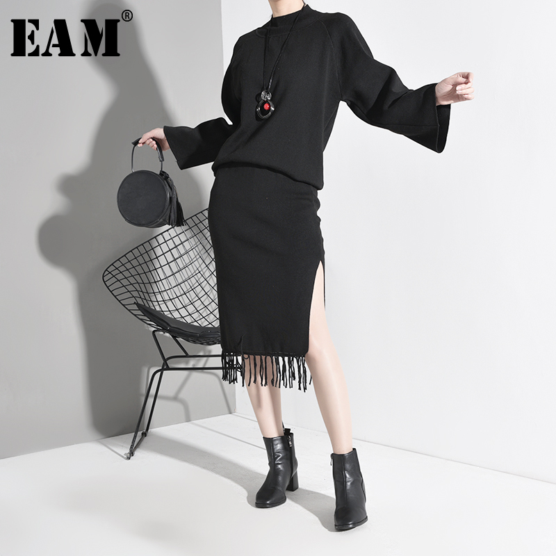 [EAM]  Tassels Knitting Half-body Skirt Two Pieces Suit New Round Neck Long Sleeve Black Loose Women Fashion Spring Autumn 2020