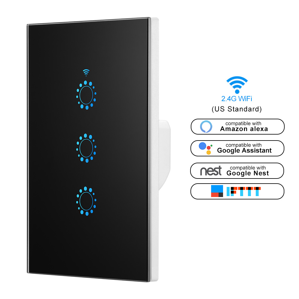 Smart switch Wifi Light Switch Glass Screen Touch Panel Voice Control Wall Switch work with Alexa Echo Google Home 1/2/3-Gang