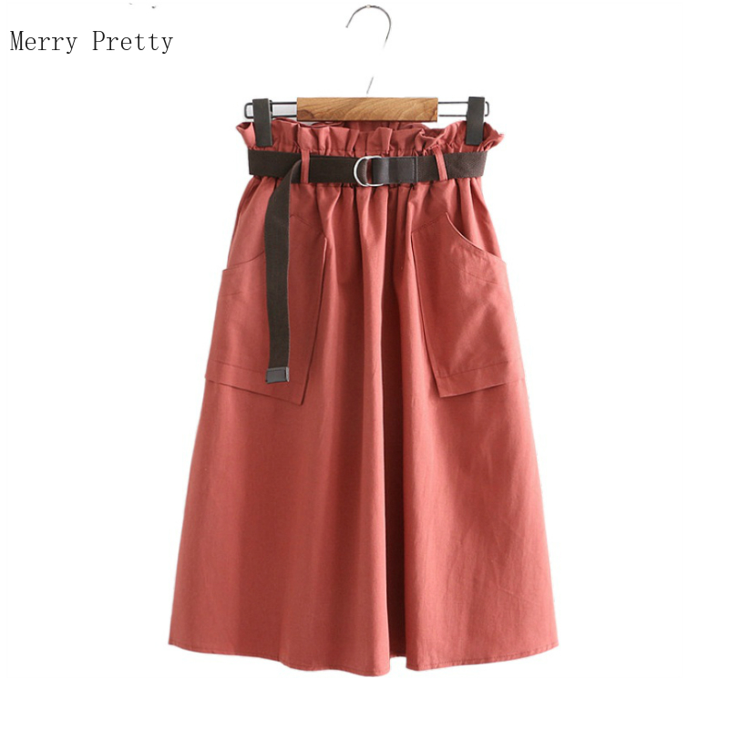 2020 Summer High Waist Knee Length Skirts Solid Pockets Pleated Casual Ladies Bottoms Trendy Female Skirts With Sashes