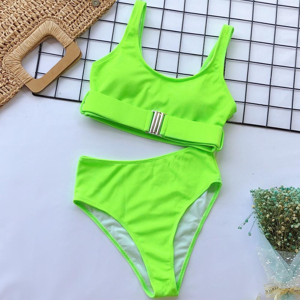 2020 New Sexy High Waist Bikini Swimsuit Women Swimwear Bandeau Push Up Bikini Set Buckle Bathing Suit Beach Wear Swimming Suit 5