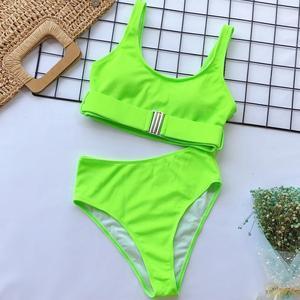 Image 5 - 2020 nowa seksowna wysoka talia Bikini strój kąpielowy kobiety stroje kąpielowe Bandeau Push Up Bikini zestaw klamra strój kąpielowy Bikini strój kąpielowy