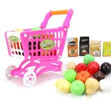 16 шт./компл. тележка корзина вагонетки супермаркета пуш-ап автомобиля игрушки для фруктов и овощей, ролевые игры Еда Playset Бакалея to Cart