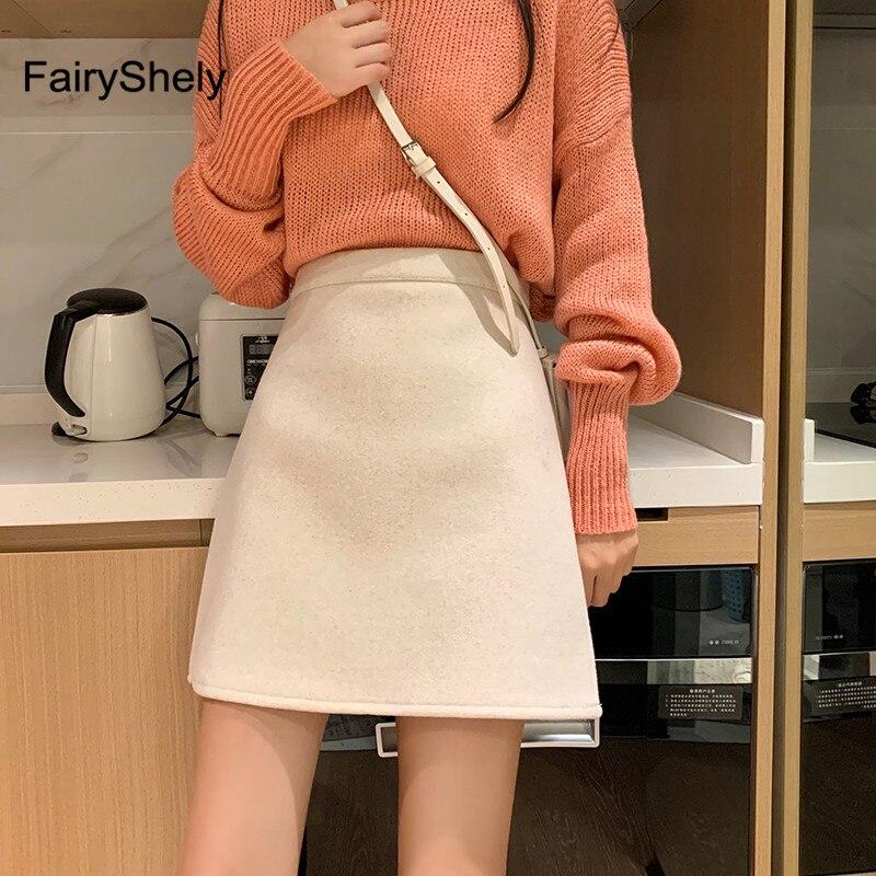 2019 Autumn Winter Apricot High Waist Skirt Woolen Pencil Skirt 2019 Office Mini Skirts Fashion Slim Bag Hip Short Skirts Faldas