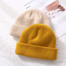 Winter new style warm melon short style woman retro knit hat wool bowler hat leather hat hip hop pullover hat man knit hat(China)