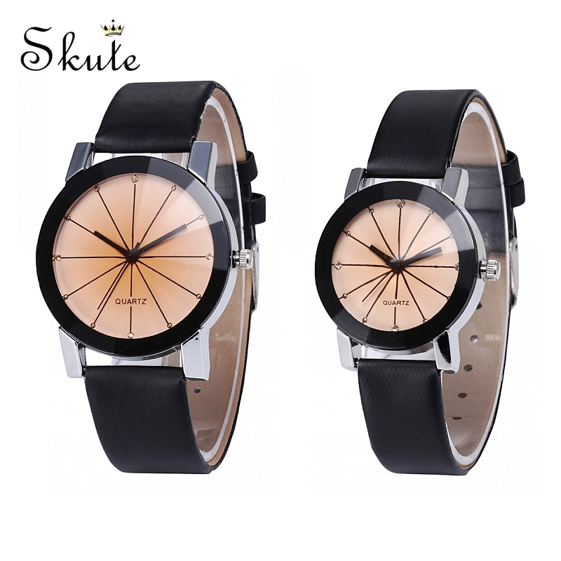 Skute Fashion Couple Watch Men Quartz Watch Women Leather Strap Meridian Watch Lovers Watch Clock Reloj Mujer Relogio Masculino