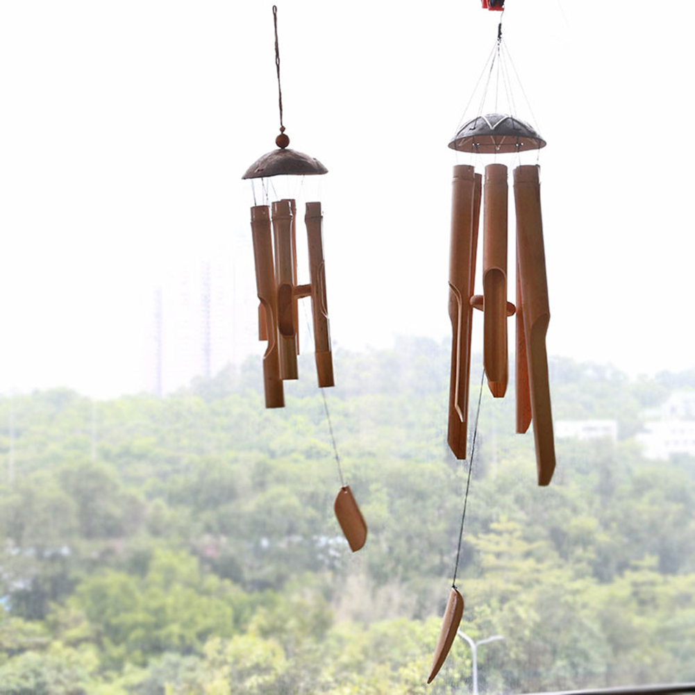 Bamboo Wind Chimes Big Bell Tube Coconut Wood Handmade Indoor And Outdoor Wall Hanging Wind Chime Decorations