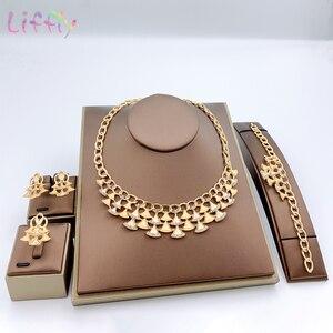 Image 1 - Комплект ювелирных изделий в нигерийском стиле, золотой цвет, свадебный кристалл, Дубай, Ювелирные наборы для женщин, ожерелье, серьги, браслет, кольцо, набор