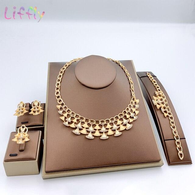 Комплект ювелирных изделий в нигерийском стиле, золотой цвет, свадебный кристалл, Дубай, Ювелирные наборы для женщин, ожерелье, серьги, браслет, кольцо, набор
