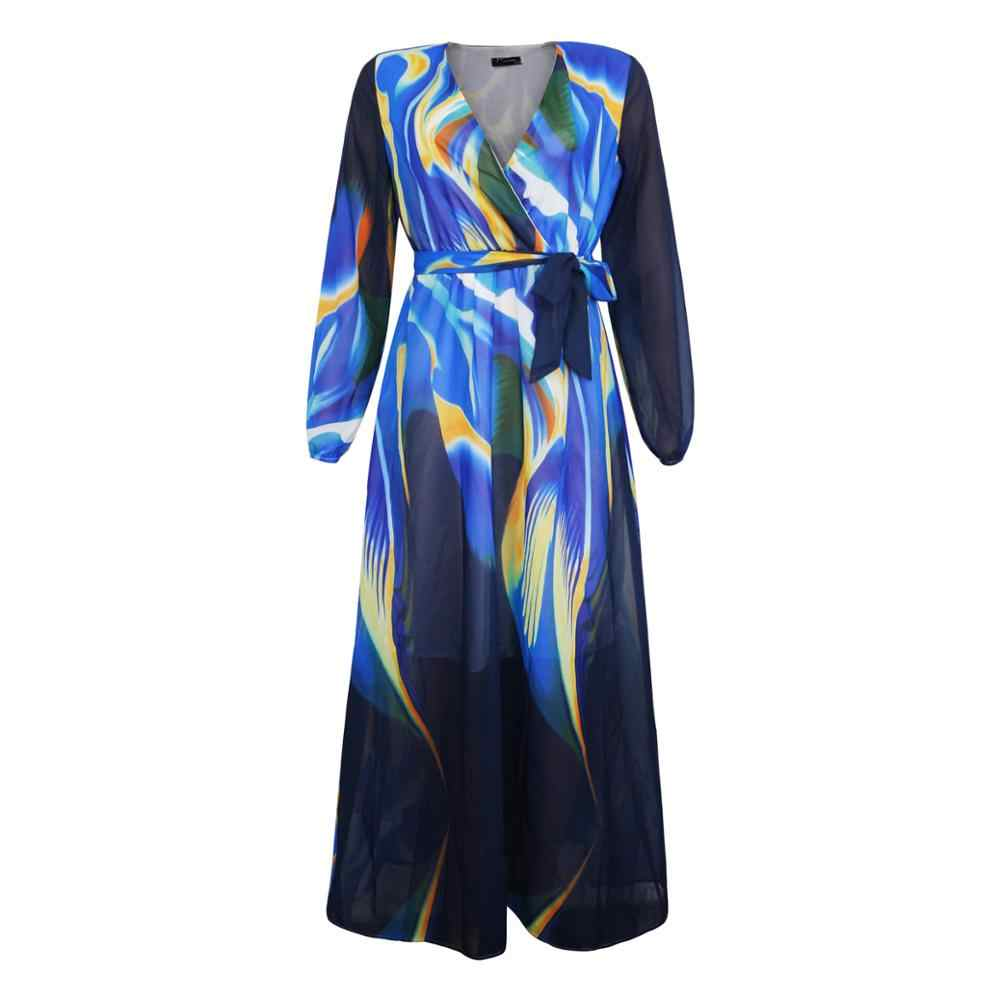 Сексуальное платье с цветным принтом размера плюс, шифоновое макси платье для женщин, высокая талия, v-образный вырез, осенние длинные платья с рукавом-фонариком, Boho, осень 4XL 5XL 6XL