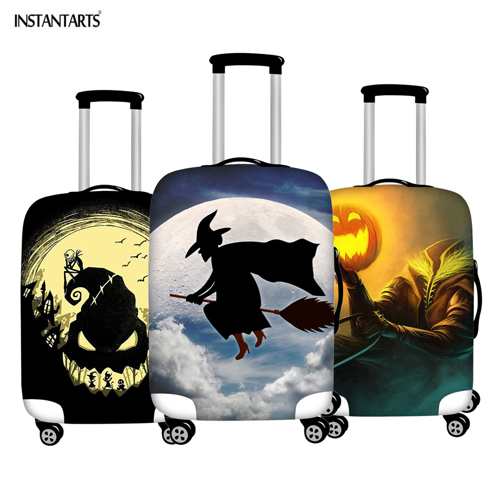 INSTANTARTS Halloween Witch Print Suitcase Protective Cover Waterproof Zipper Dust Rain Travel Luggage Case Covers For 18