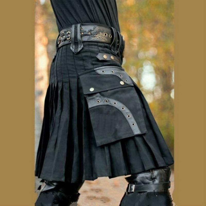 Unisex Scotland Kilt Retro Gothic Knight Clothing Pleated Skirt Halloween Cosplay Shorts Skirts Sashes Pockets Knee Length Kilts