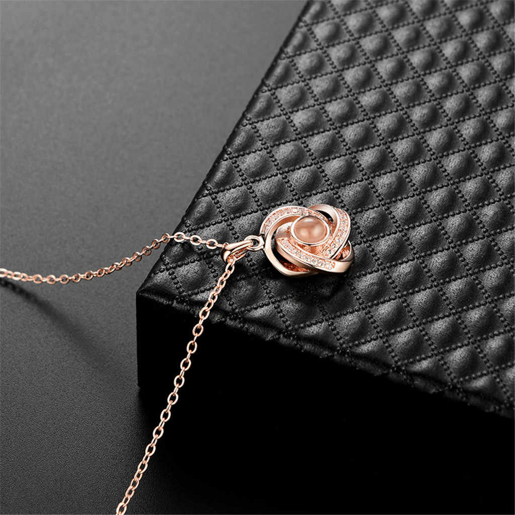 Серебряное золото 2019 модное Кристальное ожерелье с подвеской для женщин 100 видов я люблю тебя язык ключицы цепь Naszyjnik