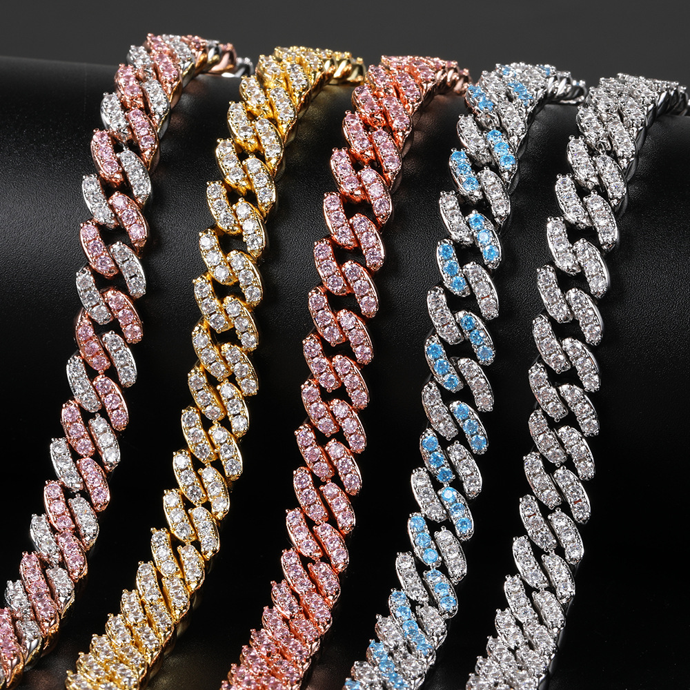 Freewear 9mm Micro Pave Iced Out CZ Cuban Link Necklaces Chains Gold...