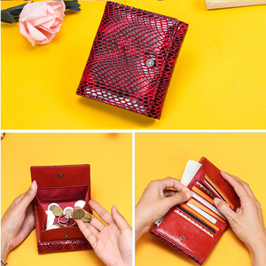 Image 3 - Contacts Womens Wallet Genuine Leather Purse Hasp Coin Pocket RFID Wallet Card Holder Femal Money Bag Small Carteira Feminina