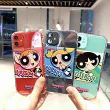 Cute Powerpuff Girls Policemen INS Phone Case for iPhone 11 Pro XS X Max Xr 8 7 6s Plus Soft Cartoon TPU Back Cover