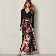 Autumn Vestido Preto Floral Print Casual V Neck Long Sleeve A Line Maxi Dress Women Robe Vintage Sukienki Elegante Lange Jurken