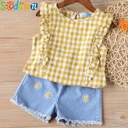 Sodawn Fashion Girls Clothing Set Summer Baby Girls Clothes White Jacket Flower Decoration+Denim Shorts Children Clothing