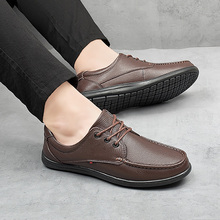 Men Business casual shoes First layer Leather Flats new men's shoes Doudou shoes men's driving shoes a pedal tide shoes *3190289