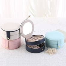 Simple Creative Portable Three-layer Jewelry Box Earrings Ring Bracelet Storage Place Detachable Multipurpose Round Storage Box(China)
