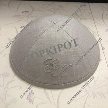 Customized, Personalized, BEIGE GREY LINEN KIPAS, KIPPOT, KIPOT WITH BEIGE GREY EMBROIDERY LOGO FOR Wedding