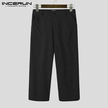 Fashion Men Wide Leg Pants Solid Color Straight Trousers INCERUN Big Pockets Zipper Pantalones Mens Loose Pants Streetwear S-5XL zipper fly straight leg pockets cargo pants