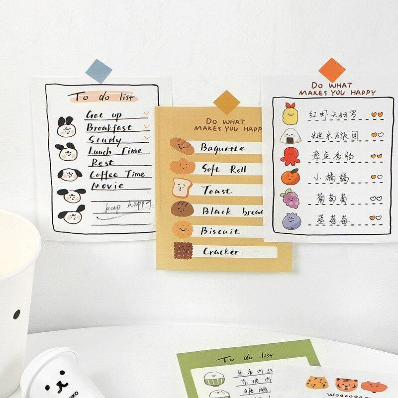 SIXONE 30 Sheets Cartoon Cute Emotion Note Book Writing Pad Kawaii Student Hand Account Message Memo Pad Diary School Stationery