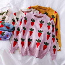Mooirue Loose Funny Carrots Printed Women Sweater Casual Long Sleeve O Neck Autumn Kintting Top Vintage Streetwear Kwaii