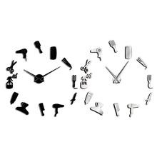 Diy Barber Shop Giant Wall Clock with Mirror Effect Barber Toolkits Decorative Frameless Clock Watch Hairdresser Barber Wall Art