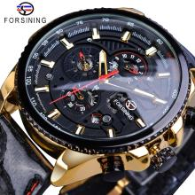 Forsining Brand 3 Sub Dial Mechanical Watch Automatic Calendar Army Racing Car Sport Mens Fabric Leather Band Clock Dropshipping цена и фото