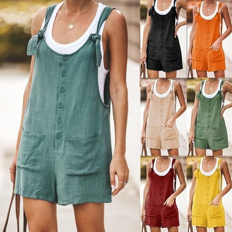 Summer Women Sleeveless Overalls Elegant Jumpsuits Romper Casual Vintage Ladies Short Pants Cotton And Linen Wide Leg Pants