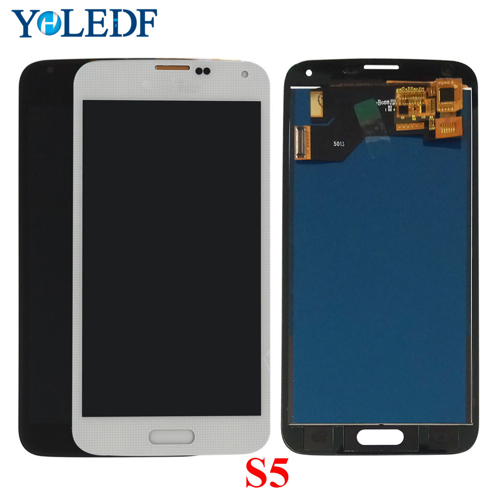 s5 LCD For SAMSUNG Galaxy S5 i9600 G900F <font><b>G900H</b></font> G900M G9001 G900R G900P G900T <font><b>Display</b></font> Touch Screen Digiziter Assembly Replace Par image
