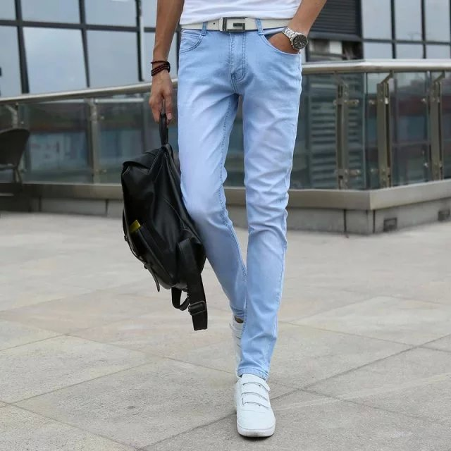 Spring New Style High Quality Slim Fit MEN'S Jeans Sky Blue Solid Color Korean-style Pants Men'S Wear Supply Of Goods