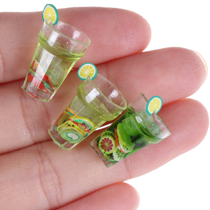 Mini Resin 1/12 Miniature Food Fruit Bottle Simulation Drinks Model Toys Drink Play Dollhouse Dolls Accessories Furniture Toy