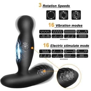 Image 2 - Electric Shock Pulse Man Prostate Massage Vibrators Sex Toy For Men Wireless Rotation Male Anal Butt Plug Stimulator Masturbator