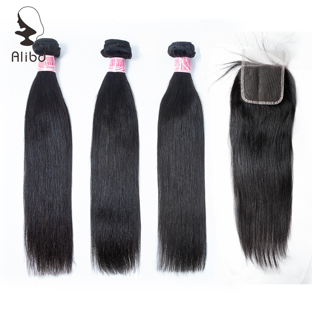 Alibd Straight Human Hair Bundles with Closure Malaysian Remy Hair 3 Bundles with Closure Natural Color Free Shipping