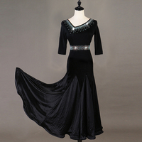 Modern Dance Dress Shiny Diamond Long Robe For Women Ballroom Dance Competition Dresses Ladies Waltz Dance Stage Costume DQL2944