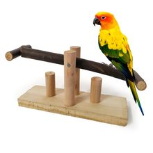 Parrot Bite Toy Wooden Seesaw Rocking Chair Stand Bar Swing Toys Parakeet Cockatiels Conures Perches Playground Pet Supplies C42