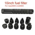 10 дюймов 1/2-28 5/8-24 винтовые конусы одножильный алюминиевый черный растворитель ловушка автомобильный топливный фильтр для NAPA 4003 WIX 24003