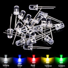 цена на 100pcs  5mm LED Diodes Assortment Kit Water Clear Red Green Blue Yellow White