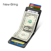 NewBring-funda para tarjetas de cuero de vaca negro, BILLETERA, Clip RFID, bloque de licencia de conducir, organizador de efectivo, tarjetero de negocios