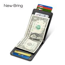 NewBring การ์ดสีดำหนังวัวกระเป๋าสตางค์คลิปเงิน RFID BLOCK DRIVER ใบอนุญาตงบ OrganizerMen ธุรกิจผู้ถือบัตรเครดิต